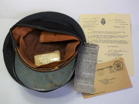 162) Post WW2 RAF Airman's Service Cap & Paperwork 4006861 Sgt W.Nulty