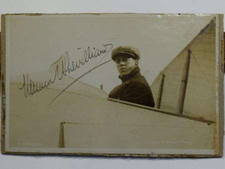 41) Original Pre WW1 Aviator Autographed Photograph Maurice Chevillard