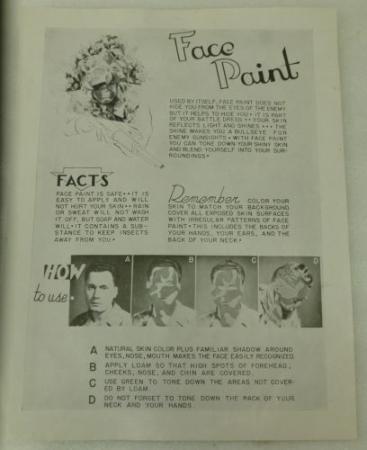 12 Original WW2 US Army Face Camo Instructions Sheet
