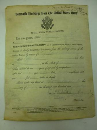 1919 dated Honourable Discharge from the US Army Sheet