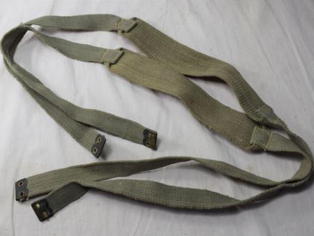 11) Original WW2 Indian Made British Army Shoulder Braces in Jungle Green KEF 1944
