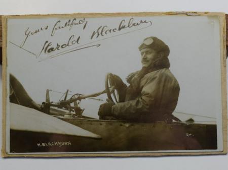 44) Original Pre WW1 Aviator Autographed Photograph Harold Blackburn