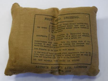 161) Original WW2 British Army Issue First Field Dressing 1938