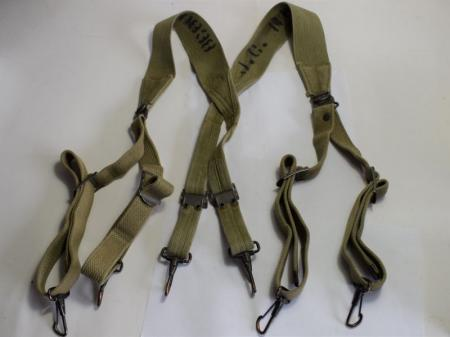 GD4) Original WW2 US Army M-1936 Pattern Web Suspenders With ID