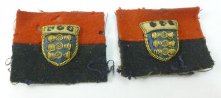 WW2 RA RAOC Padded Cloth Insignia Pair
