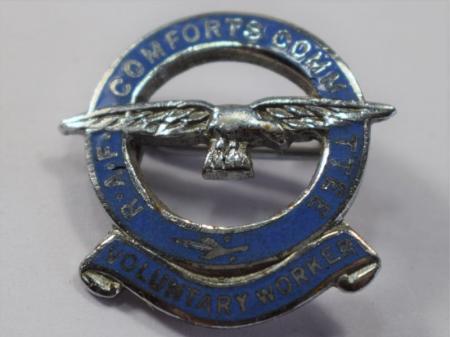 "47) Good Original WW"" RAF Comforts Committee Voluntary Workers Pin Badge"