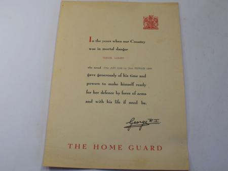 105) Original WW2 Home Guard Service Certificate to Charles Laslett