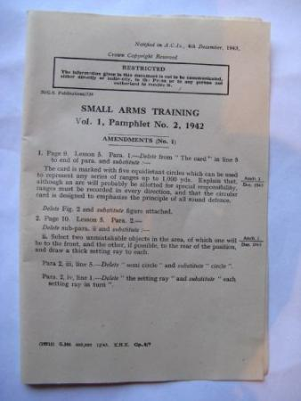 Small Arms Training Vol 1 Pamphlet no2 Amendments No1