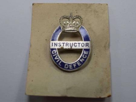 73) Unissued Cold War Civil Defence Instructors Badge on Original Card
