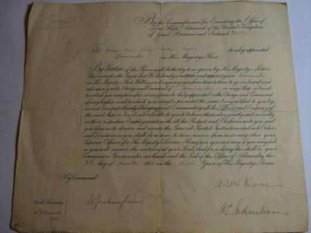 80) Original Pre WW1 Royal Navy Commission to Commander G.H.Holden Holden