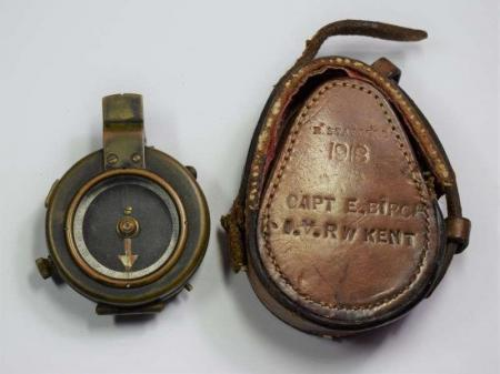 173) WW1 British Officers Compass & Case to Capt E.Birch IV Royal West Kent