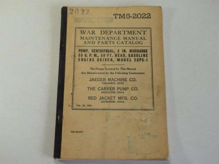 17) WW2 US Maintenance Manual Model 2APS-1 Engine Driven Pump
