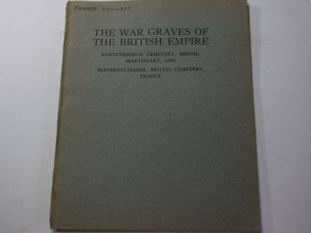 62) Original 1925 War Graves of the British Empire Booklet France 220-221